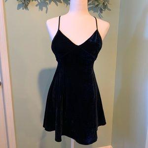 Lucca Couture Navy Sleeveless Velvet Mini Dress S